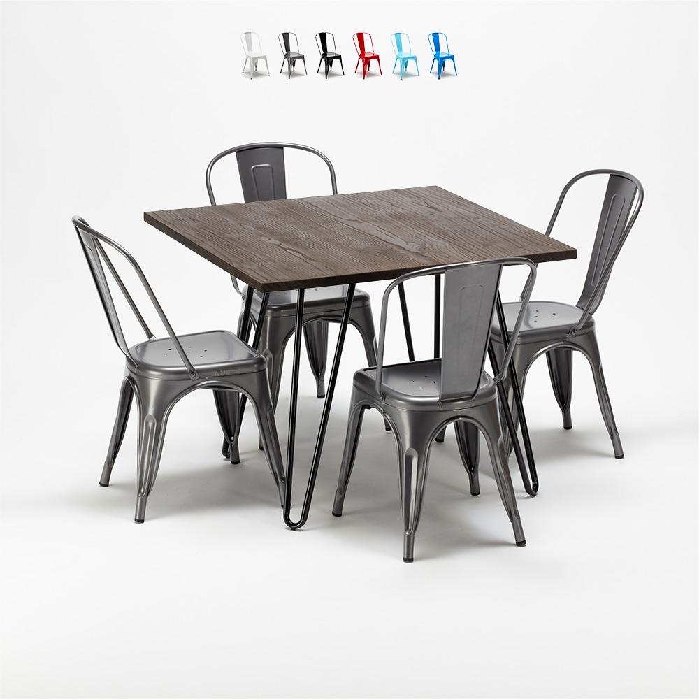 Fyrkantigt bord och stolar i metall och trä i industriell Tolix-stil Pigalle
